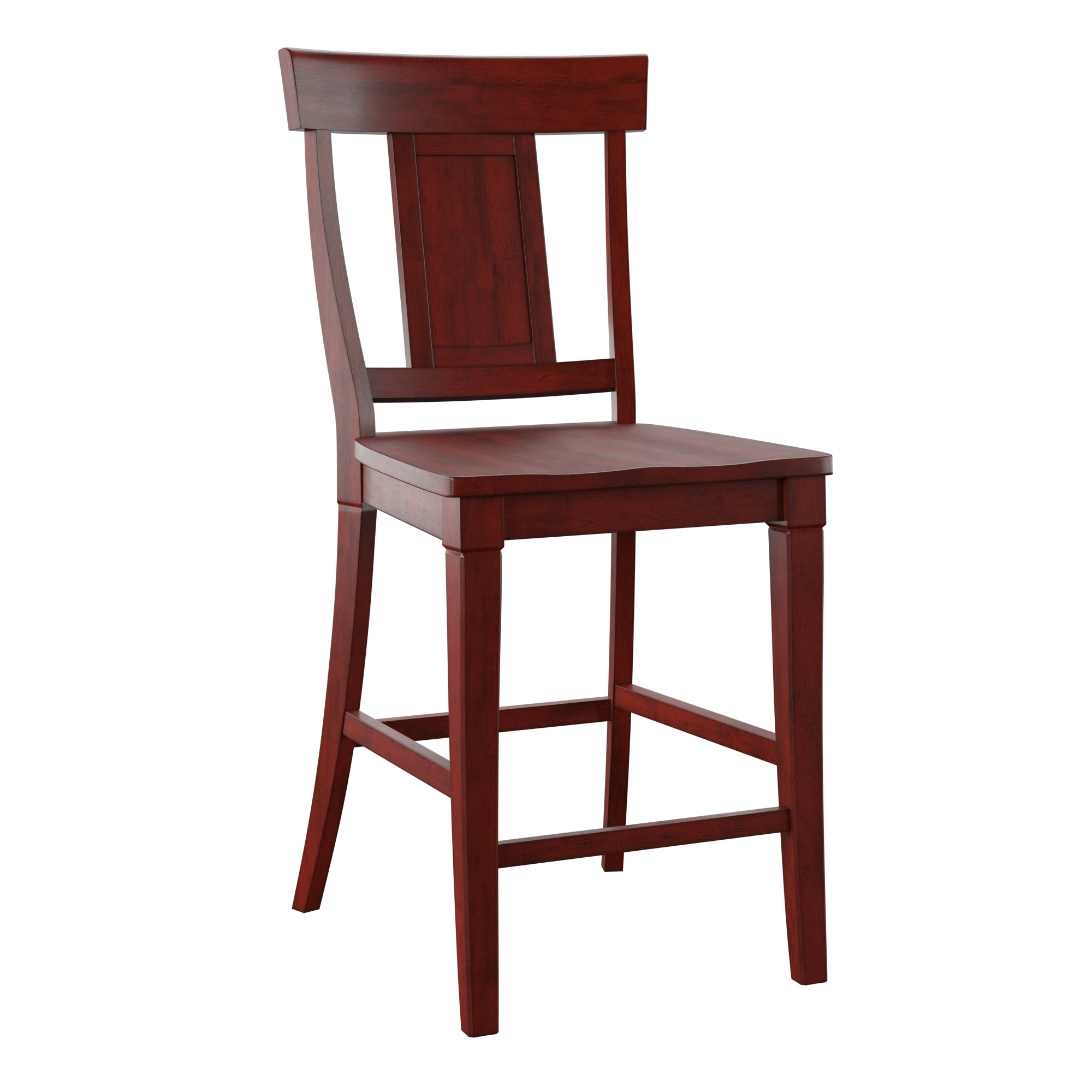 Panel Back Wood Counter Height Chair (Set of 2) - Antique Berry