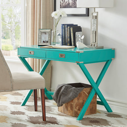X-Base Wood Accent Campaign Writing Desk - Marine Green