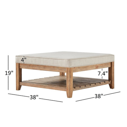 Pine Planked Storage Ottoman Coffee Table - Beige Linen Button Tufts