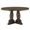 Dark Walnut Finish 60-inch Round Dinning Table with Two Side Chairs and Two Arm Chairs - 2 Side Chairs and 2 Arm Chairs
