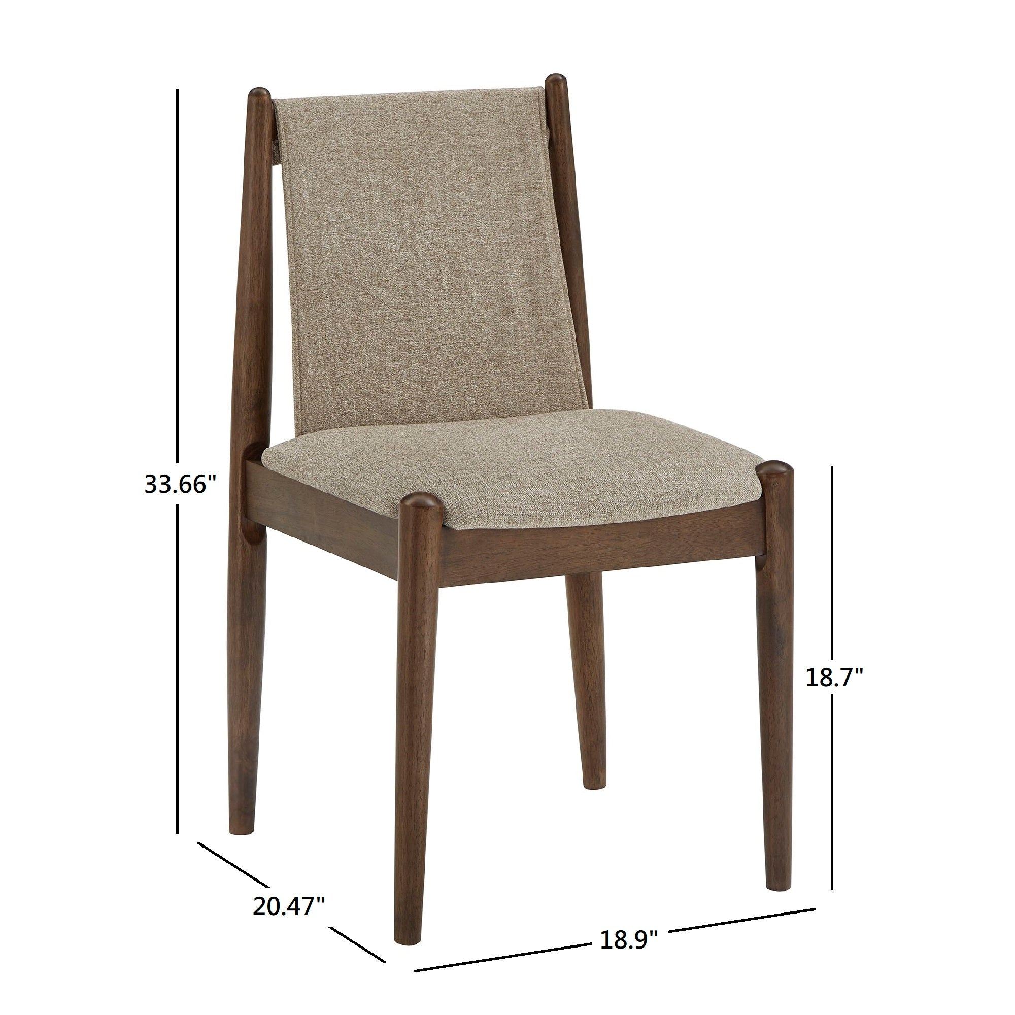 Walnut Finish Cocoa Fabric Dining Chair (Set of 2)