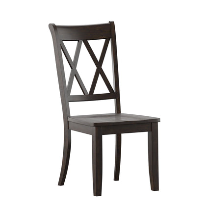 Antique Black With Double X Back Wood Dining Chair (Set of 2)