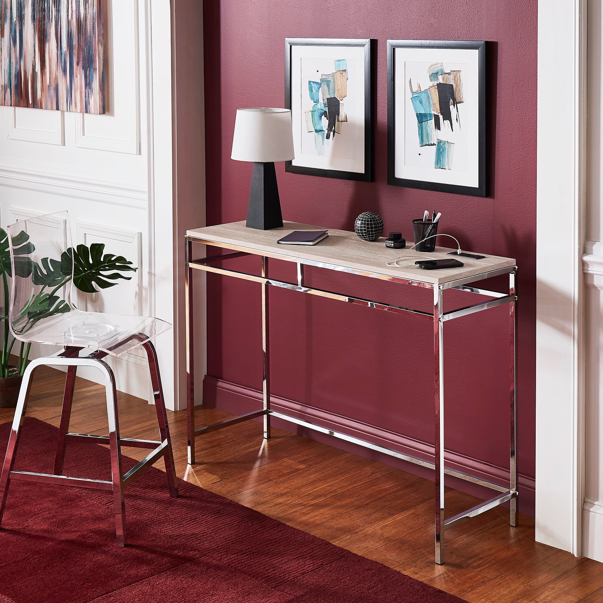 Chrome Finish Counter Height Desk with Faux Marble Top and USB Charging Port