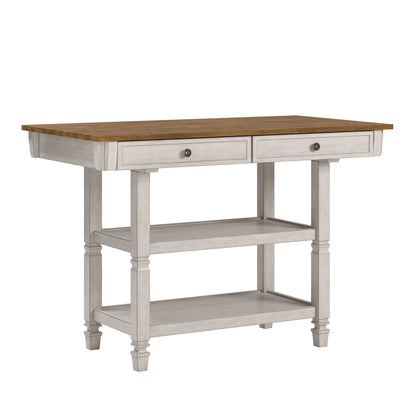 Two-Tone Antique Kitchen Island Buffet - Oak Top with Antique White Base