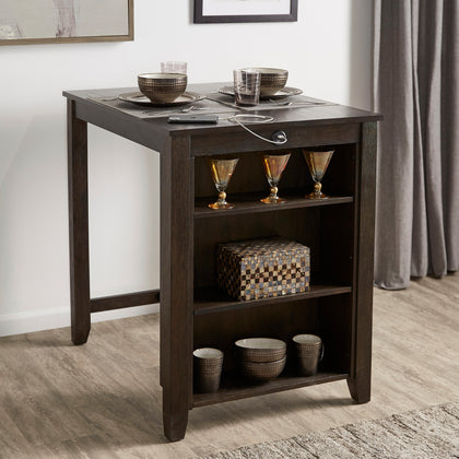 Wood Counter Height Dining Table with Charging Station - Dark Cherry Finish