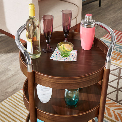 Walnut Finish Round Bar Cart