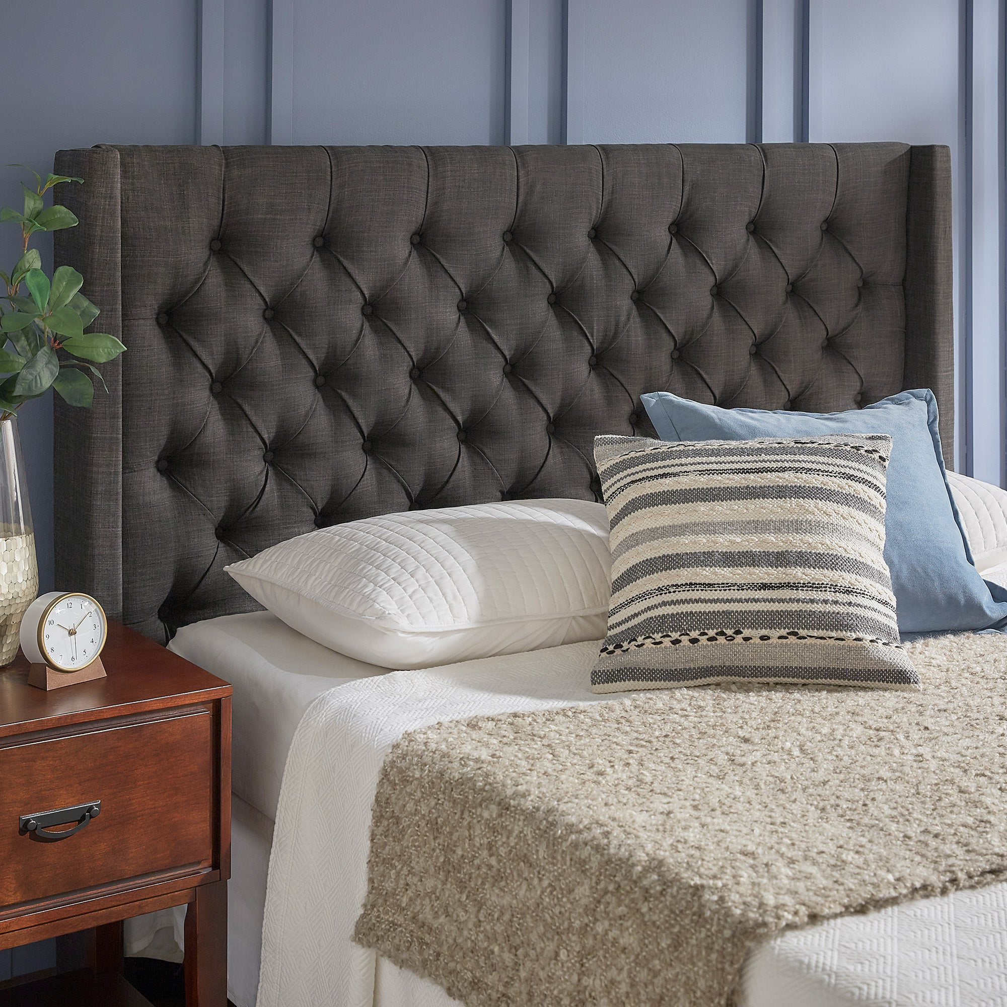 Wingback Button Tufted Linen Fabric Headboard - Dark Grey, Queen Size