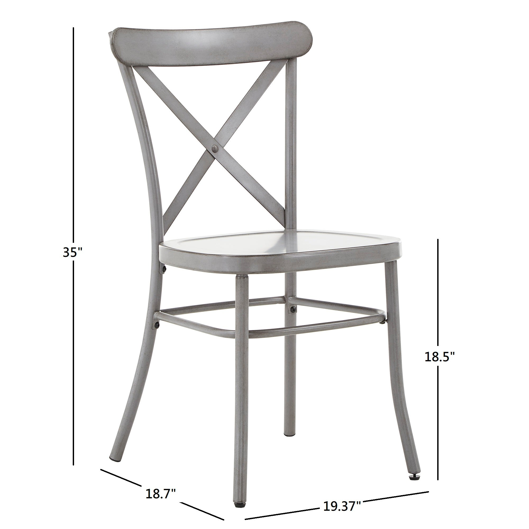 Metal Dining Chair (Set of 2) - Antique Grey Finish