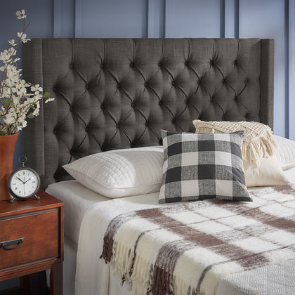 Wingback Button Tufted Linen Fabric Headboard - Dark Grey, Full Size
