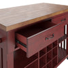 Two-Tone Kitchen Island with Wine Rack - Oak Top with Antique Berry Base