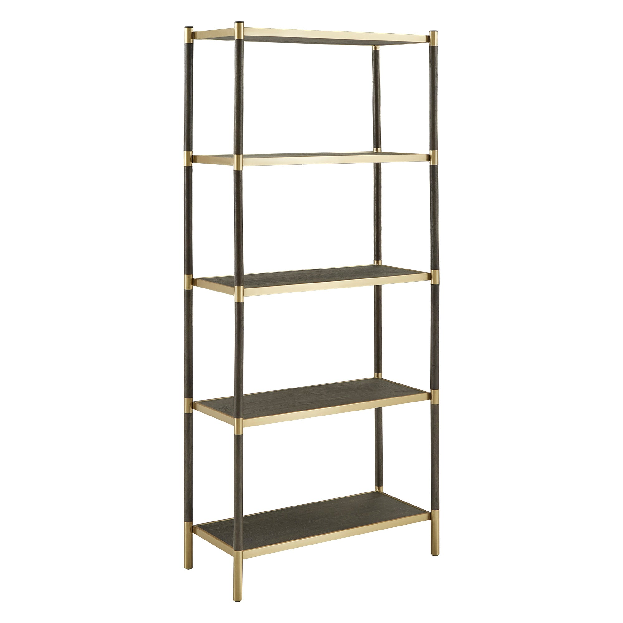 Modern Two-Tone Black and Gold Finish Bookcase