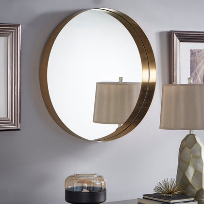 Ledge Round Wall Mirror - Gold Plated Finish
