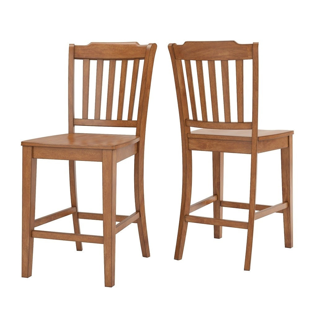 Slat Back Wood Counter Height Chair (Set of 2) - Oak Finish