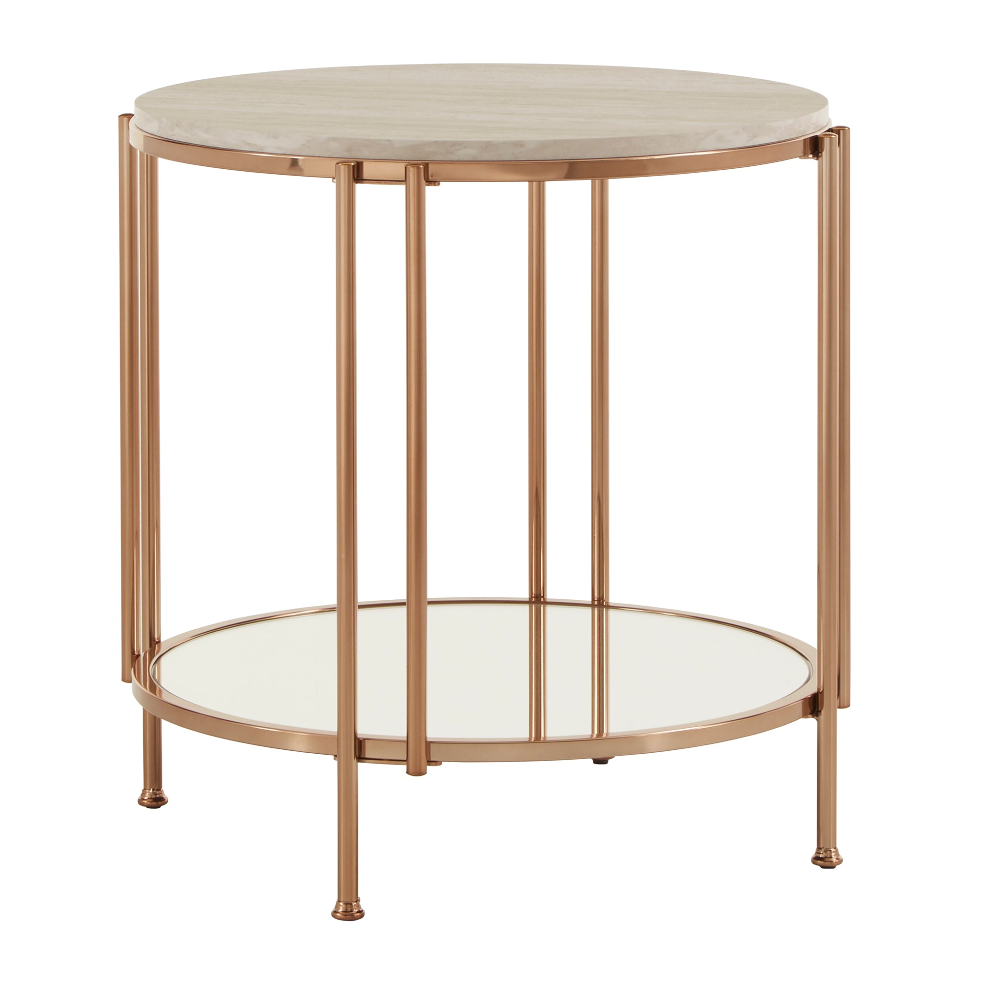 Champagne Gold Finish End Table - End Table