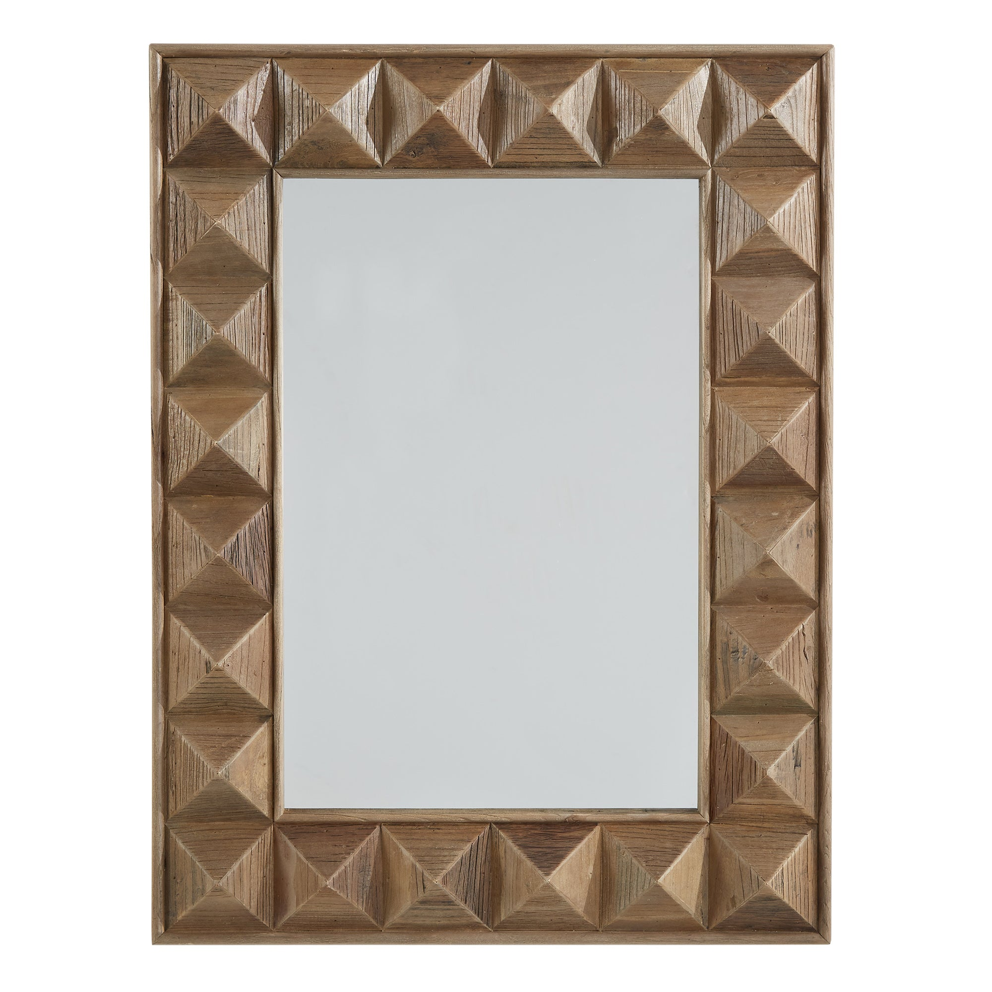 Rectangular Reclaimed Wood Geometric Faceted Wall Mirror
