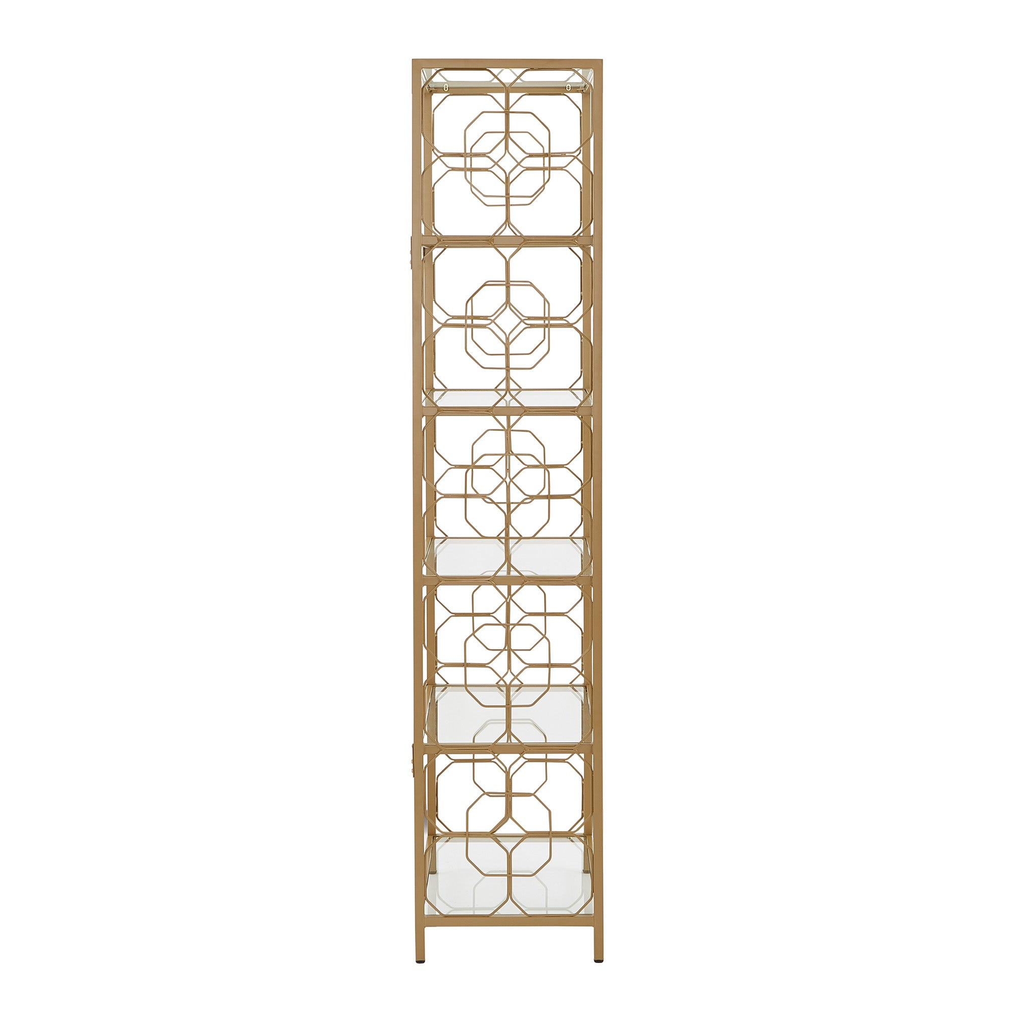 Octagon Pattern Gold Metal and Glass Bookcase