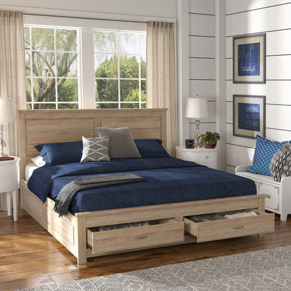 Wood Panel Platform Bed with Storage - King Size - Oak Finish