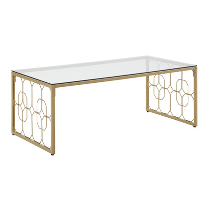 Octagon Pattern Gold Metal and Glass Table - Coffee Table Only