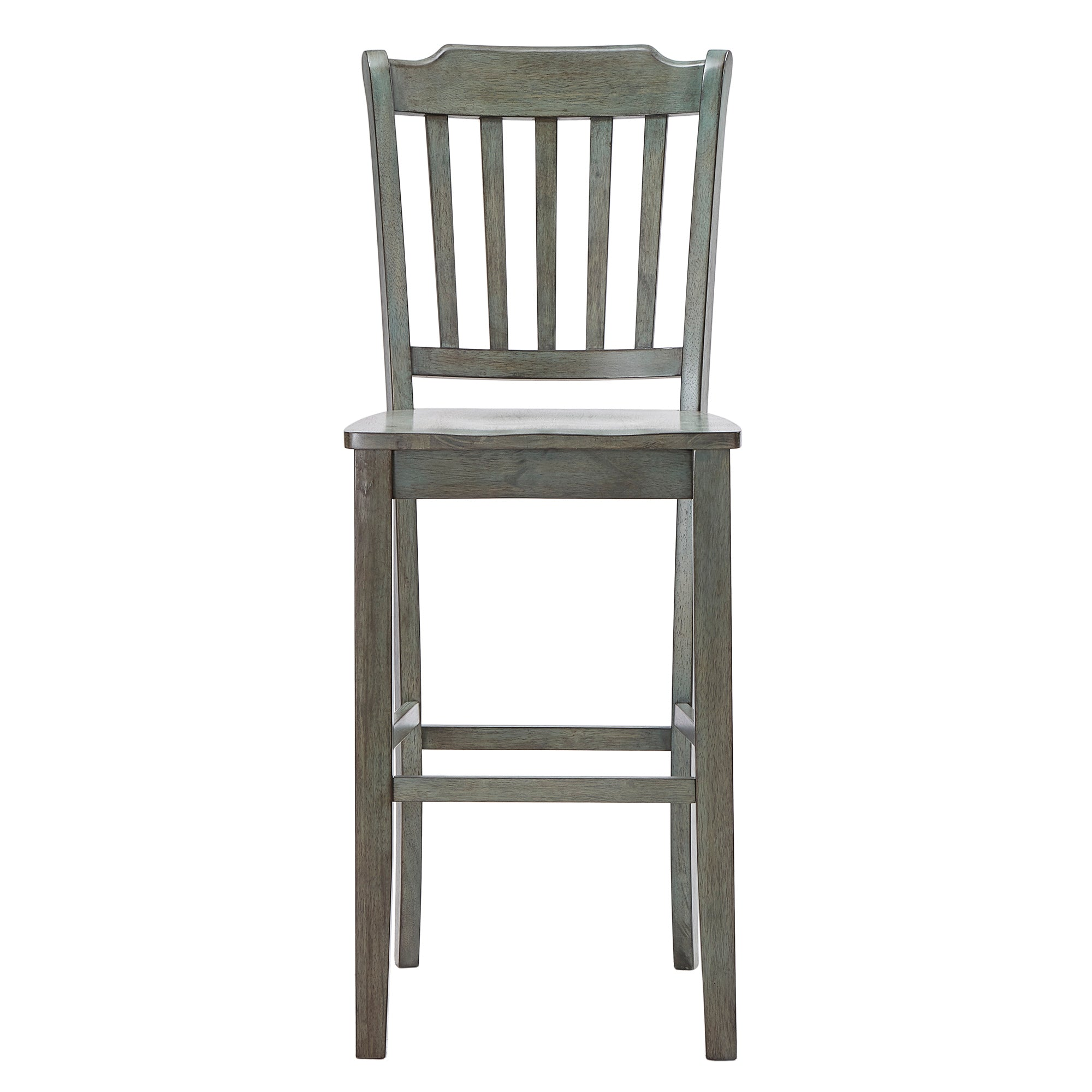 Slat Back Bar Height Chairs (Set of 2) - Antique Sage Finish