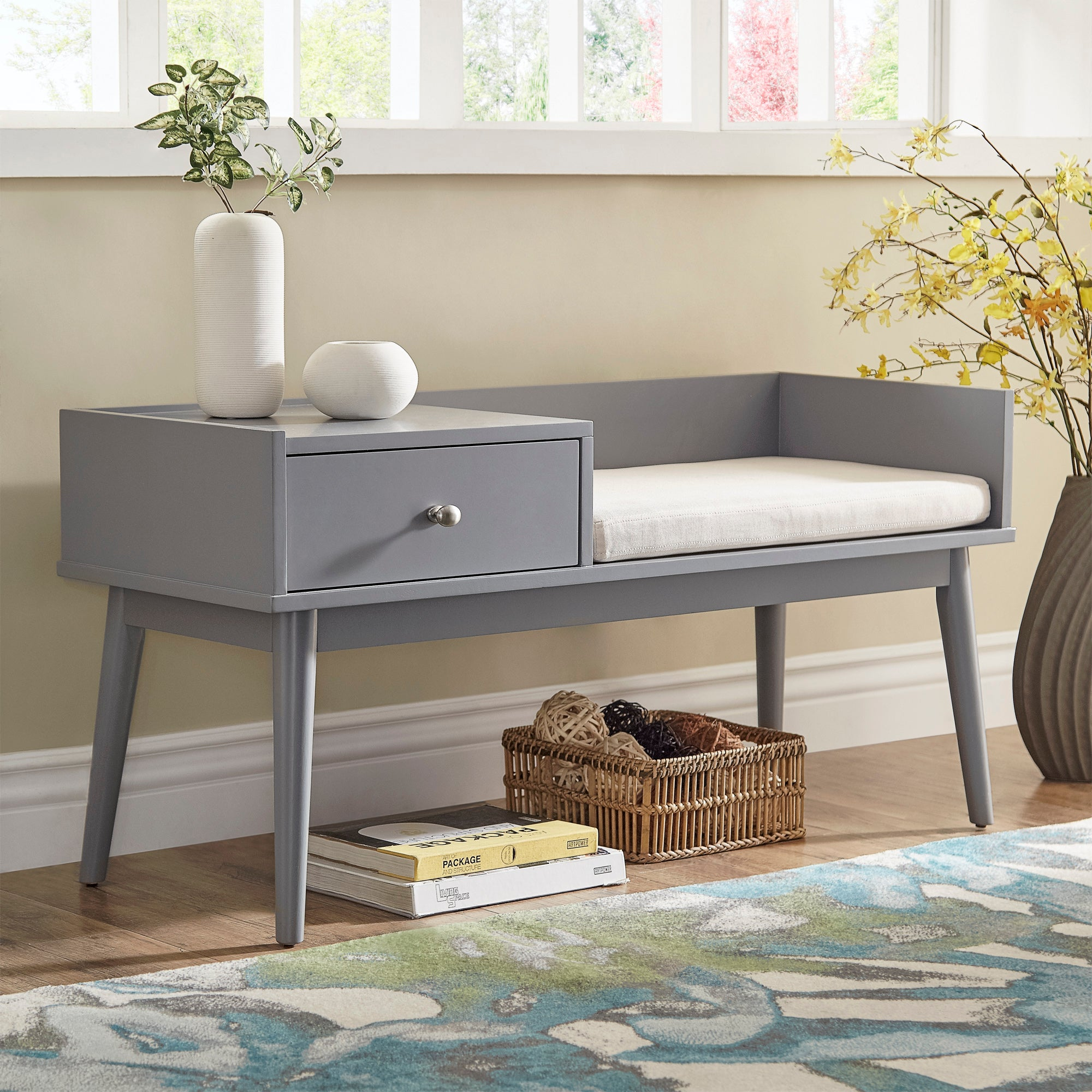 1-Drawer Cushioned Entryway Bench - Frost Grey