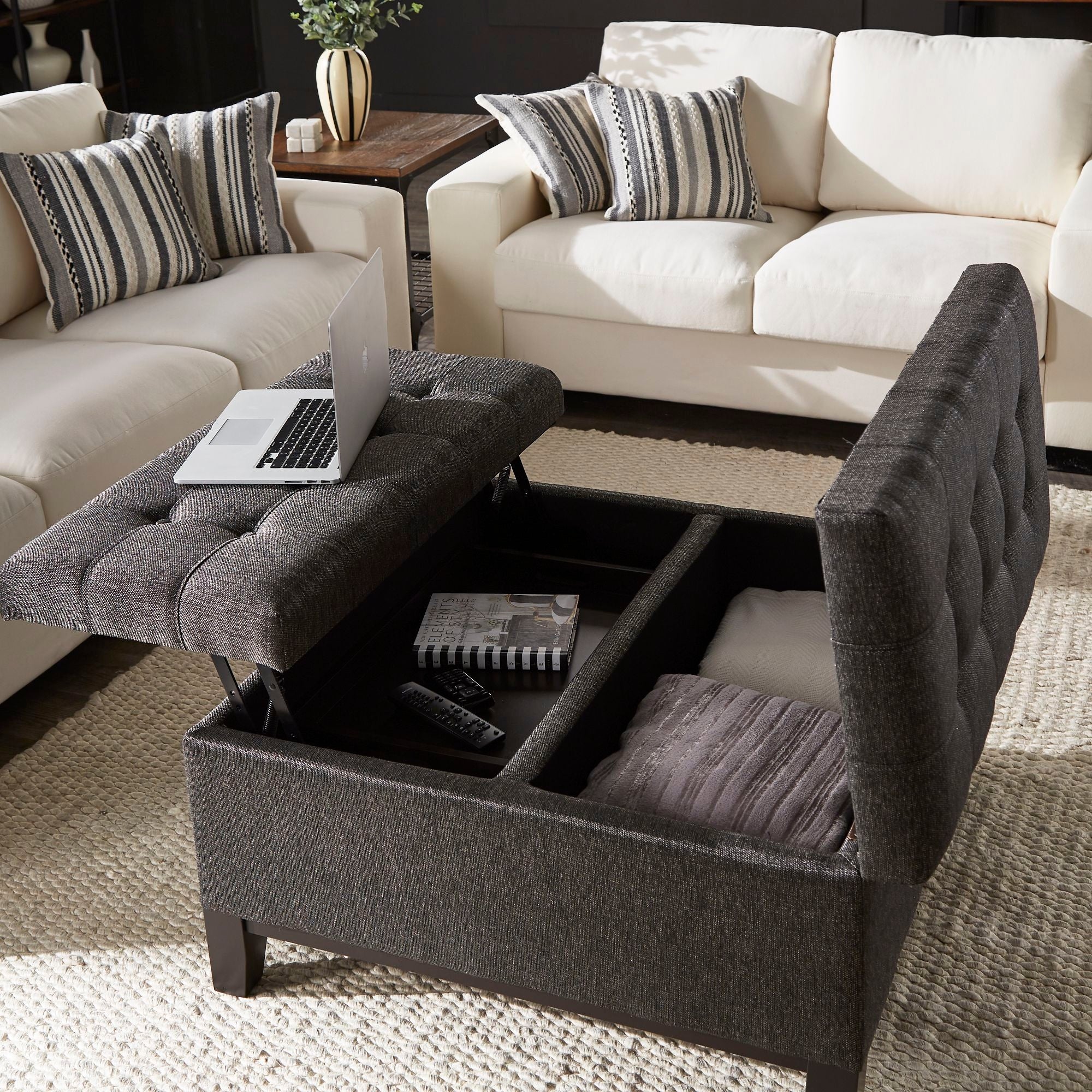 Dark Grey Fabric Lift-Top Storage Ottoman with 2 Trays