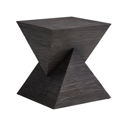 Distressed Double Triangular Prism Shape End Table