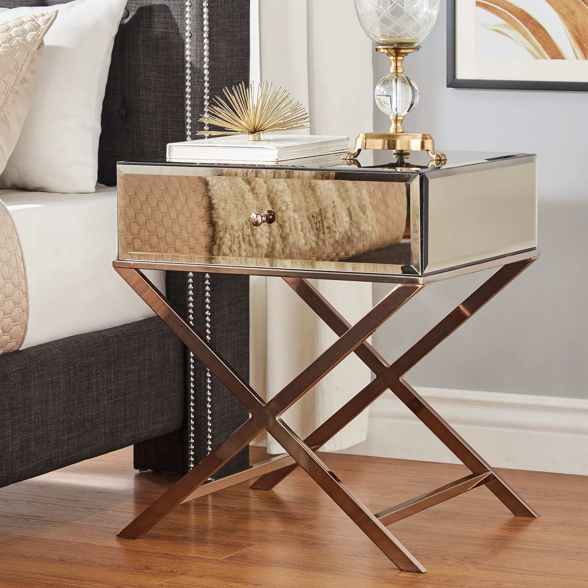 X-Base Mirrored Accent Campaign Table - Champagne Gold