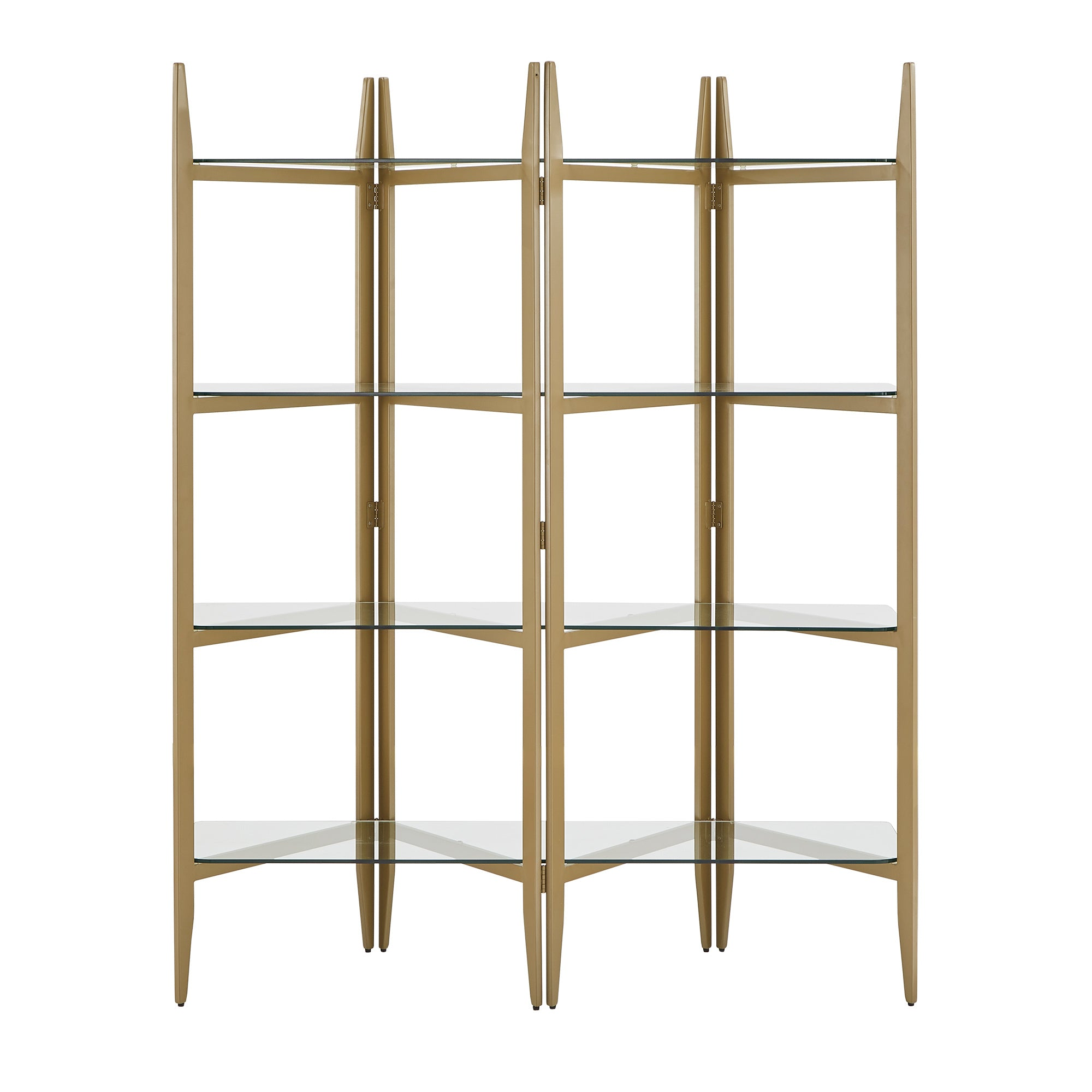 Gold Finish Metal Bookcase with Glass Shelves
