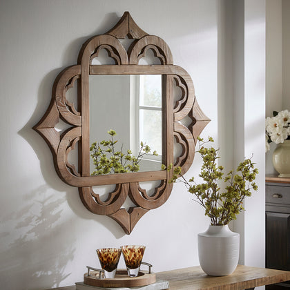 Reclaimed Wood Moroccan Pattern Wall Mirror
