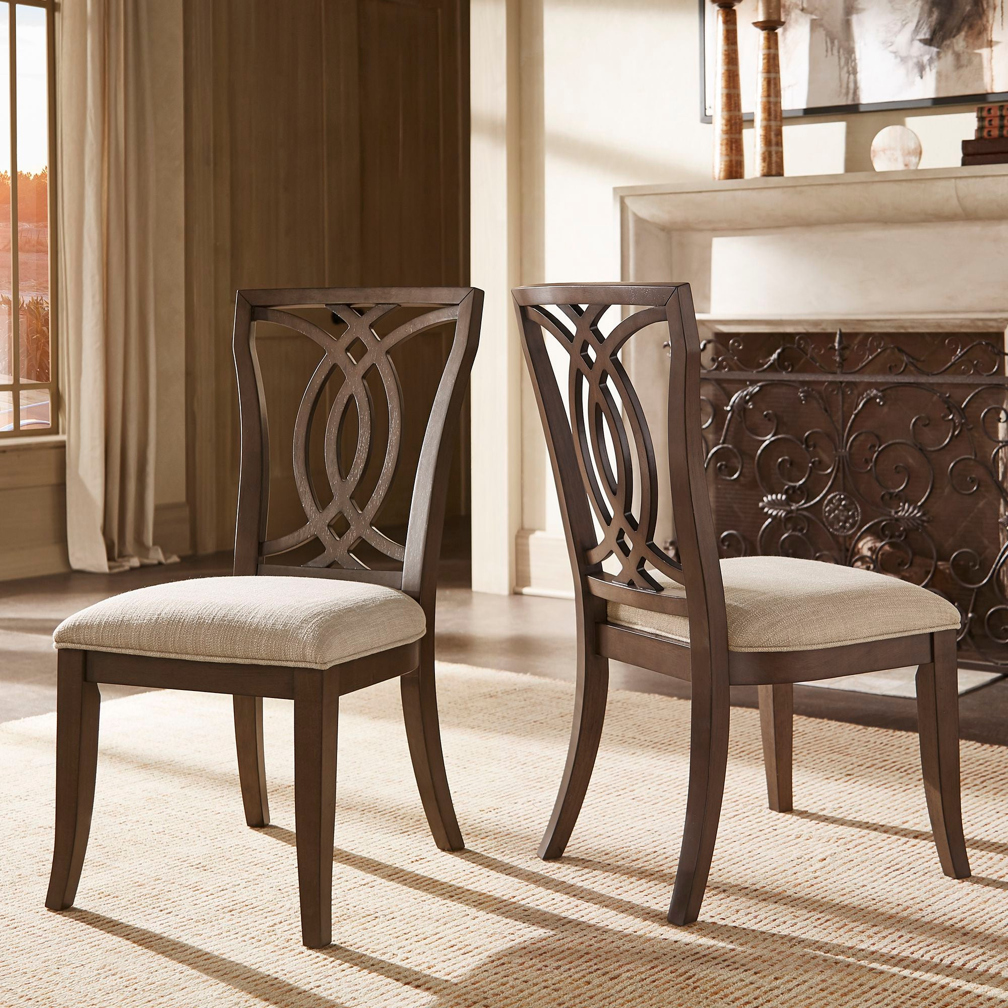 Dark Walnut Finish, Beige Fabric Upholstery, Side Chair (Set of Two)