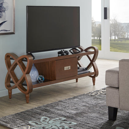 Walnut Finish TV Stand With Black Tempered Glass Top & Bottom