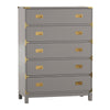 5-Drawer Gold Accent Campaign Chest - Frost Grey