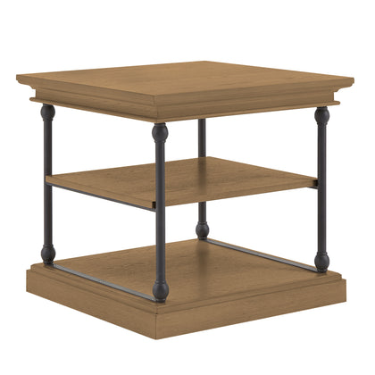 Cornice Accent Storage Side Table - Brown Color Finish