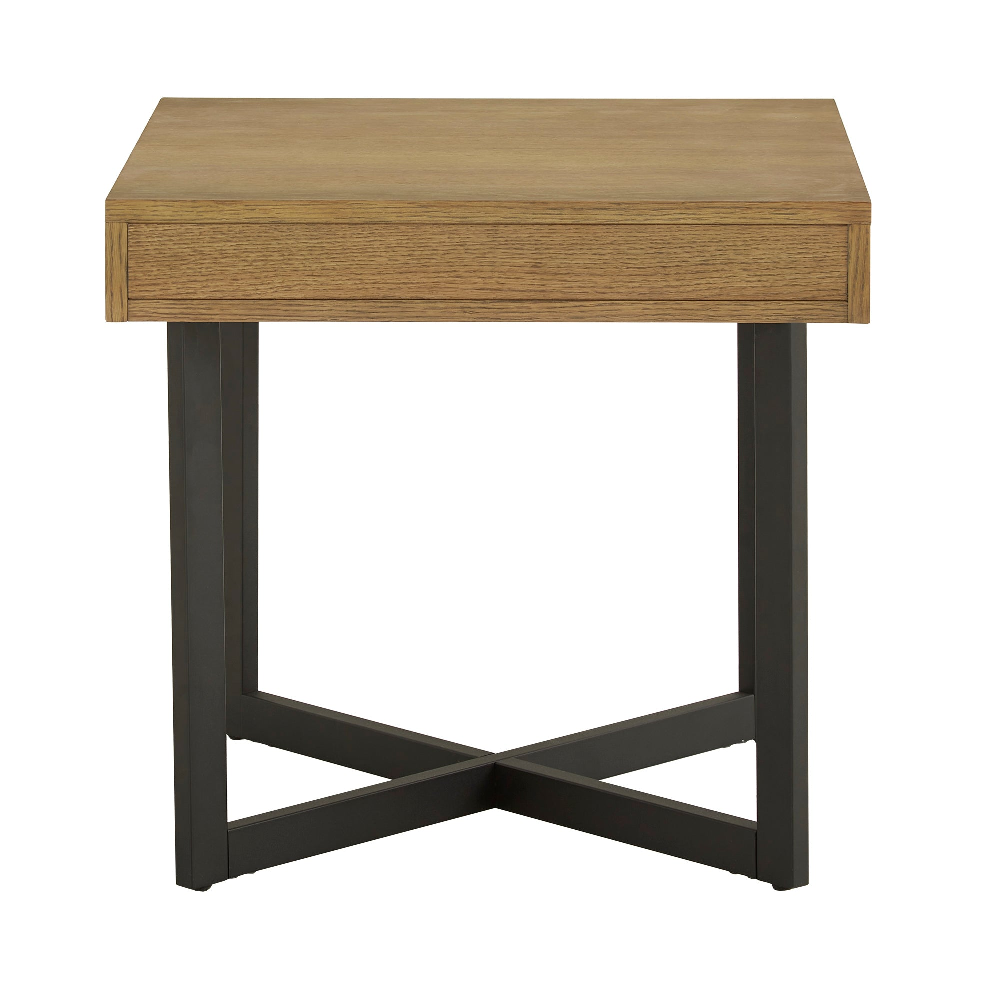 Wood Finish End Table with One Drawer - Oak Finish