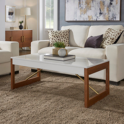 Two-Tone High Gloss White and Walnut Finish Table - Coffee Table Only