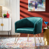 Gold Finish Velvet Accent Chair - Green Velvet