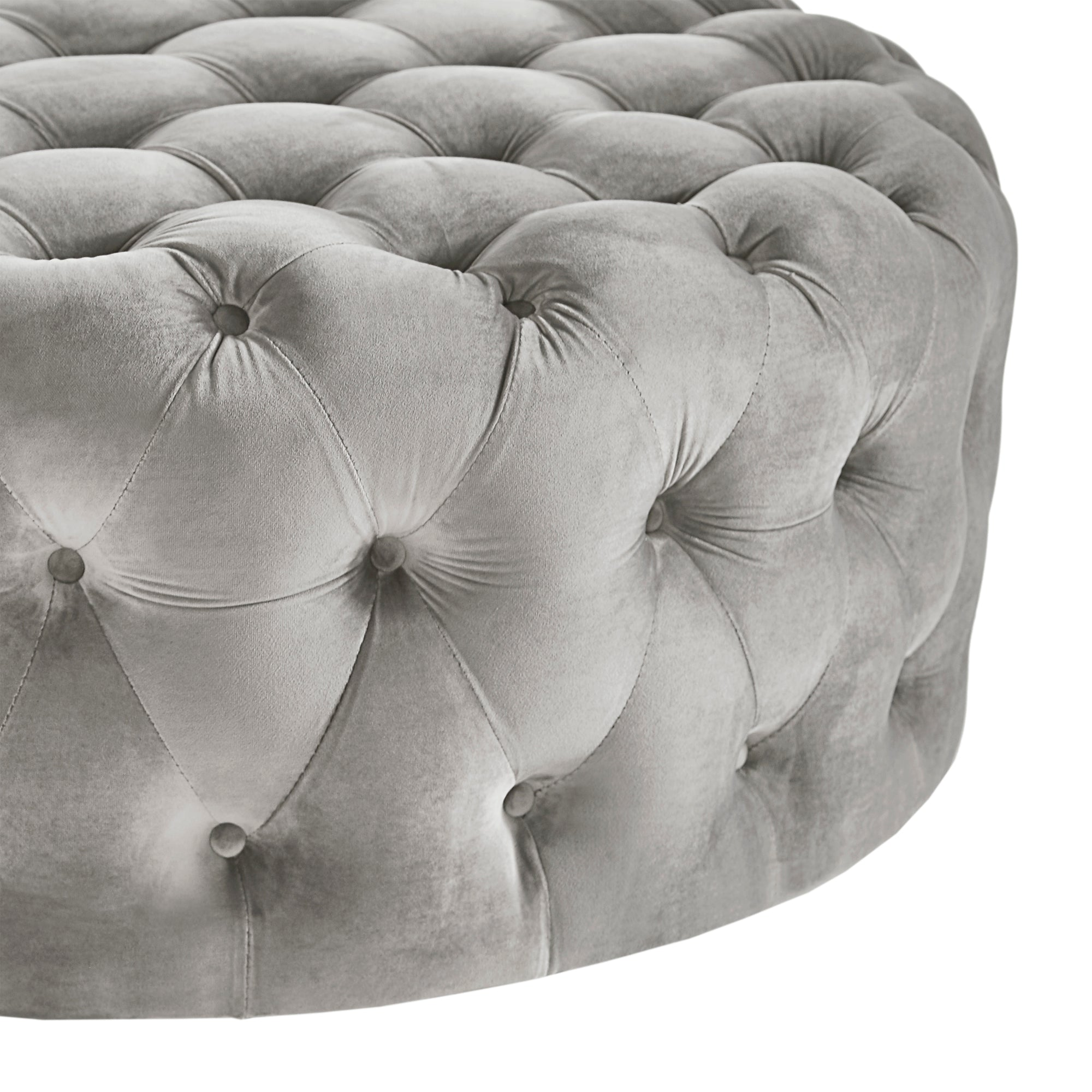 Round Tufted Cocktail Ottoman with Casters - Grey Velvet