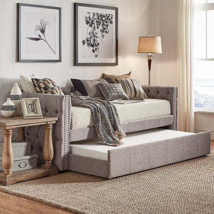 Tufted Nailhead Daybed with Trundle - Grey Linen