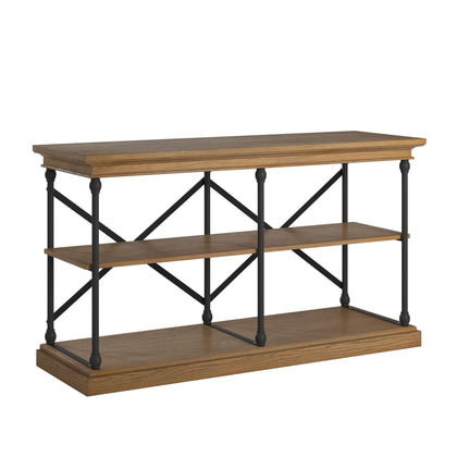Cornice Iron and Wood Entryway Console Table - Brown Finish