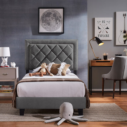 Black Finish Frame with Velvet Fabric Platform Twin Bed - Grey Velvet (Twin Size)