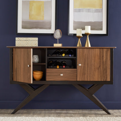 Two-Tone Espresso and Walnut Finish Server