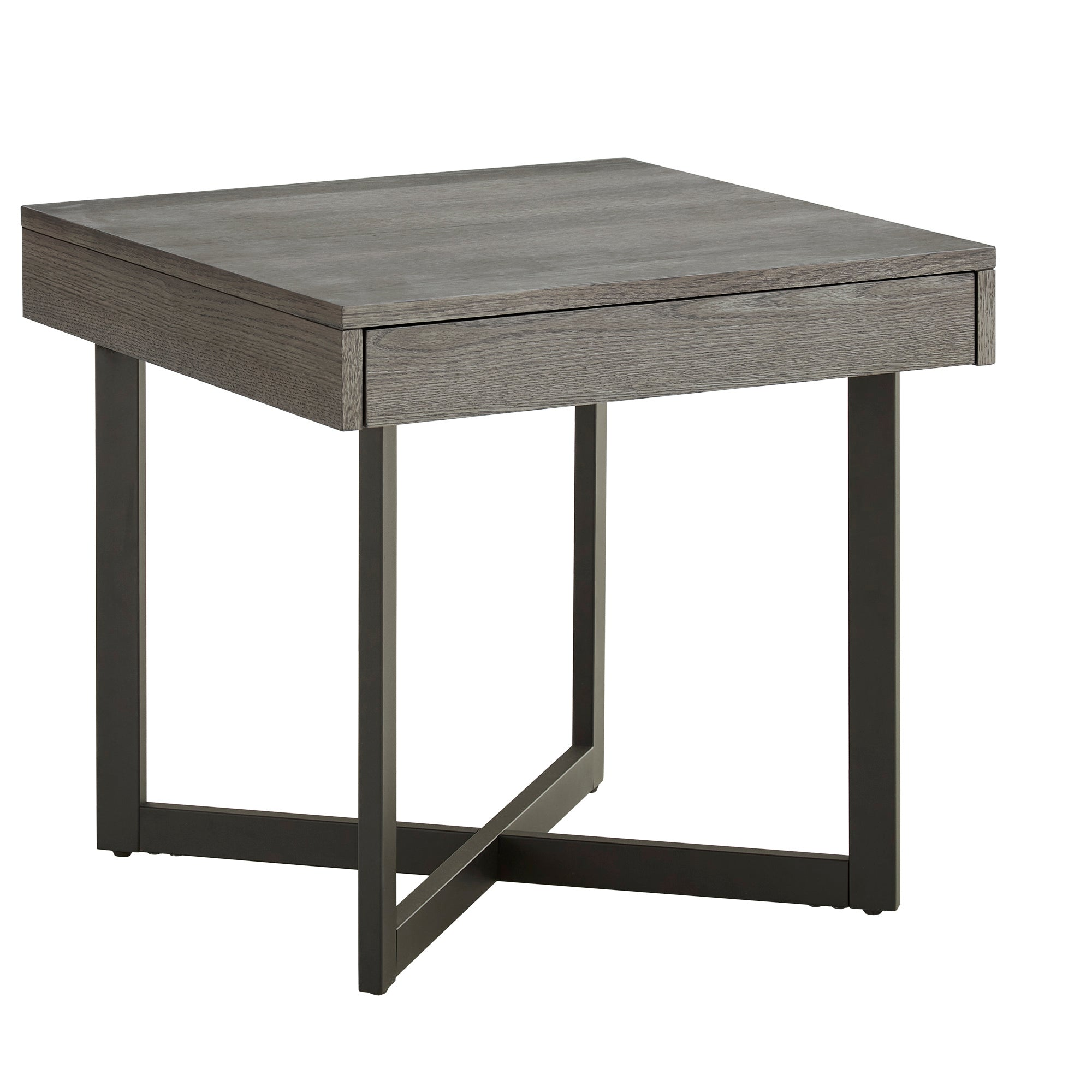 Antique Grey Finish Wood Finish End Table with One Drawer