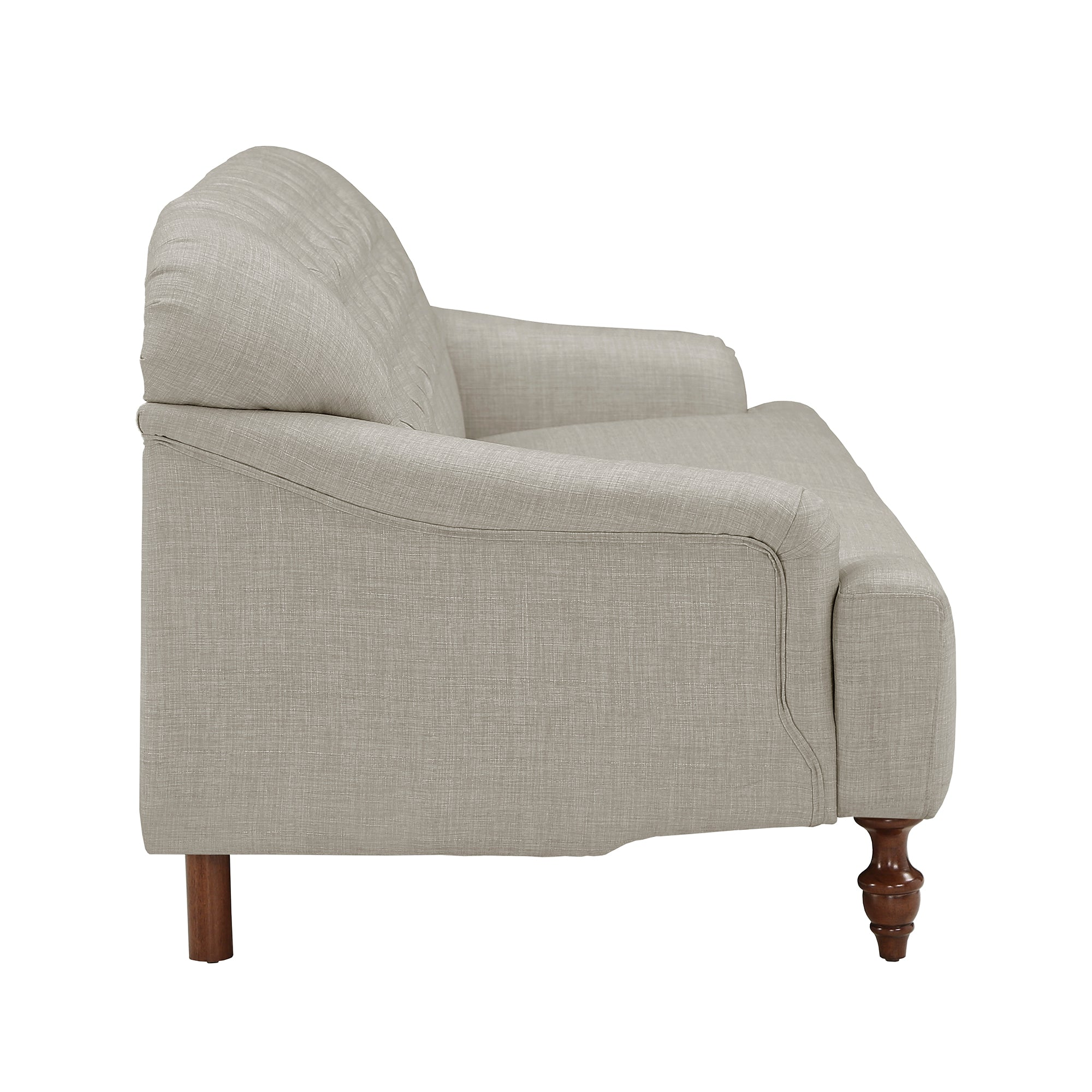 Walnut Finish Linen Chesterfield Sofa - White Linen
