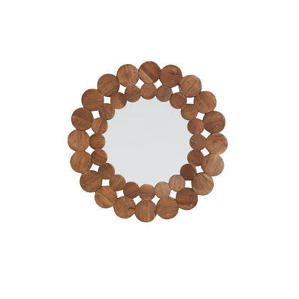Natural Finish Reclaimed Wood Round Wall Mirror - Small