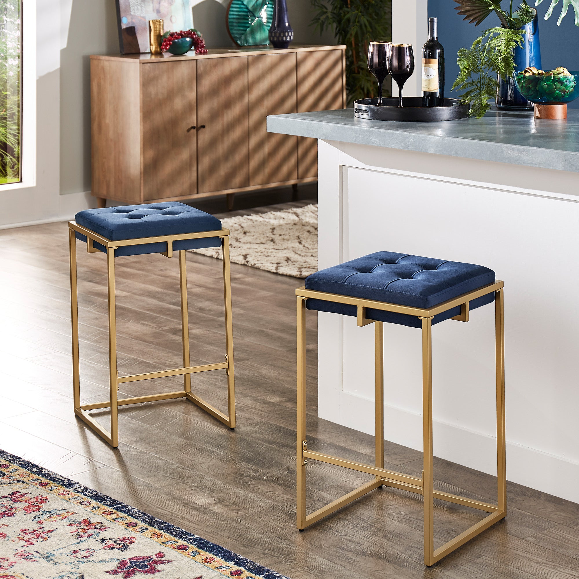 Gold Finish Velvet Button Tufted Bar Stools (Set of 2) - Counter Height - Blue