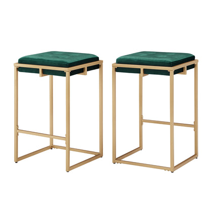 Gold Finish Dark Green Velvet Button Tufted Counter Height Stools (Set of 2)
