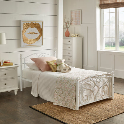 White Metal Platform Bed - Twin