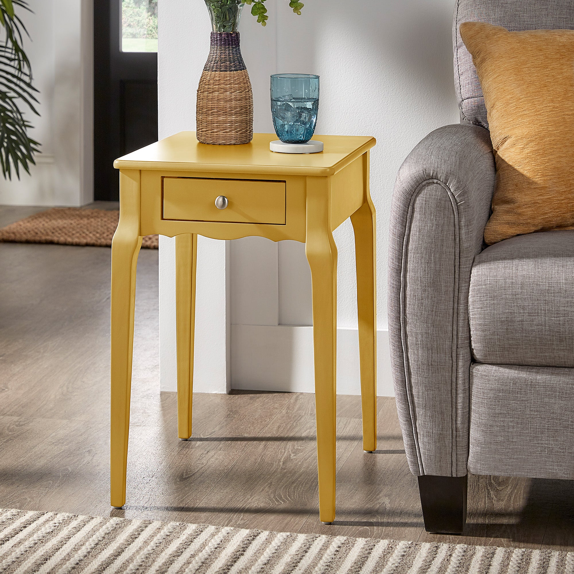 1-Drawer Wood Side Table - Yellow