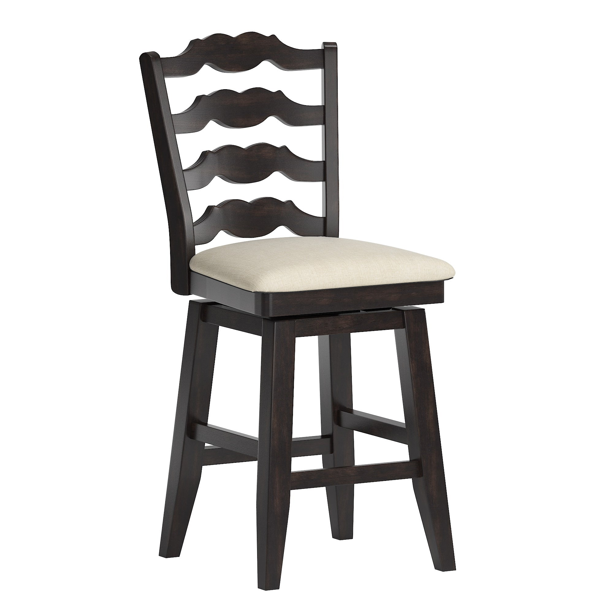 French Ladder Back Counter Height Swivel Chair - Antique Black