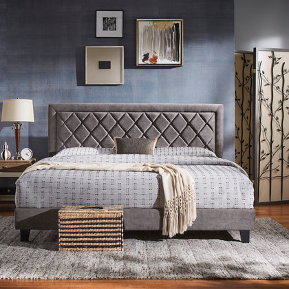 Black Finish Frame with Velvet Fabric Platform Bed - King Size - Grey Velvet (King Size)